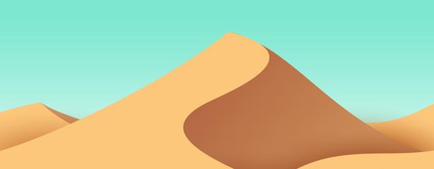 Cartoon desert sand dunes. Bright nature landscape. Minimalistic vector composition. Panoramic background illustration.