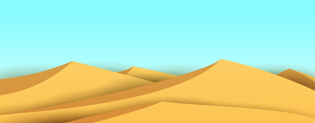 Poster Bleu clair Cartoon desert sand dunes. Bright nature landscape. Minimalistic vector composition. Panoramic background illustration.