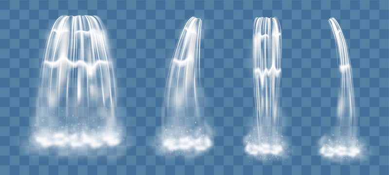 Vector waterfall elements isolated on transparent