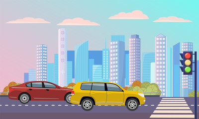 Cityscape with street with zebra vector, transportation cars on roads. Traffic lights and crosswalk with automobile, modern skyscrapers and buildings lorry illustration in flat style design for web Fotomurales
