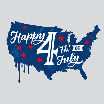 America Happy 4th of July. Independence Day. Vector illustration template with celebratory lettering on the map of America.
