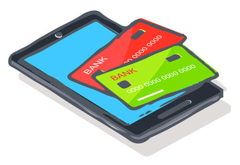 Wall Mural - Paying for products online. Isolated icon of smartphone with credit cards. Banking technology for clients and customers of stores and shops. Mobile phone with application for paying money vector