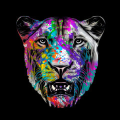 Tiger head with creative abstract element