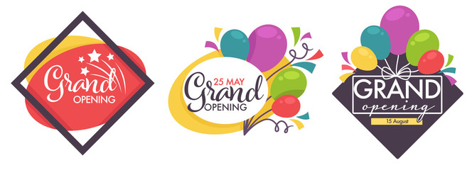 Grand opening isolated icons, balloons and confetti decor