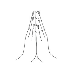Mudra. Hand greeting posture of namaste linear illustration. Thin line namaste EPS 10 vector illustration isolated on white background.