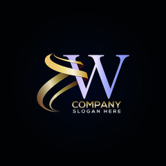 W luxury letter logo design with golden ribbon