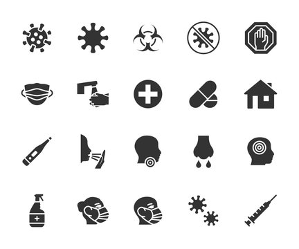 Vector set of virus flat icons. Contains icons coronavirus, flu, cough, runny nose, sore throat, prevention, treatment and more. Pixel perfect.