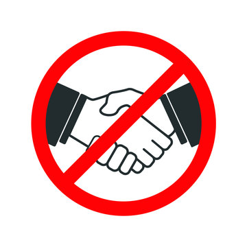 No handshake icon with red forbidden sign, avoiding virus infection