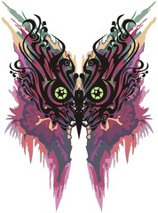 Printed kitchen splashbacks Butterflies in Grunge Colorful unusual owl head splashes as butterfly wings. Abstract owl eyes like tropical butterfly wings for your design or for carnival