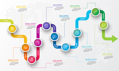 Timeline infographic template,Business concept with 10 options,Vector illustration.