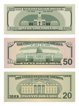 Set of one hundred dollars, fifty dollars and twenty dollar bills. 100, 50 and 20 US dollars banknotes from reverse side. Vector illustration of USD isolated on white background