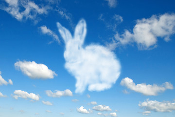 Shape of fluffy cloud Easter bunny on a cloudy sky blue background. Fotobehang