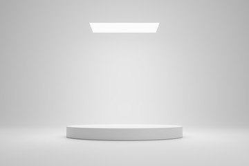 Empty podium or pedestal display on white room and light background with futuristic stand concept. Blank product shelf standing backdrop. 3D rendering. Wall mural