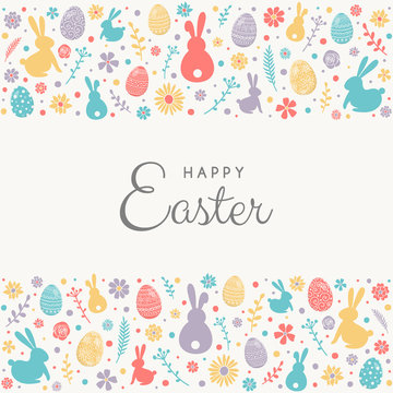 Colourful eggs, bunnies and flowers on background with Happy Easter wishes. Vector