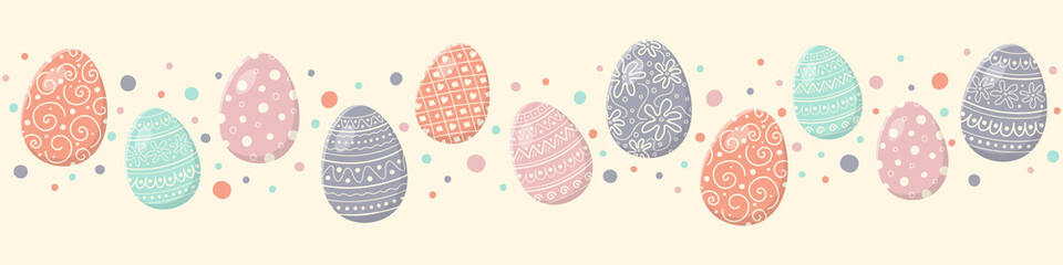 Colourful easter banner with eggs. Vector