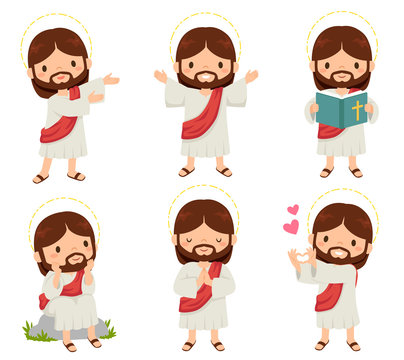 Jesus Christ clipart set. A collection of cute smiling Jesus cartoons over white background.