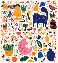 Fototapete - Cats collection. Doodles collection. Decorative abstract horizontal banner with colorful doodles. Hand-drawn modern illustration with cats, flowers, abstract elements. Pattern with cats