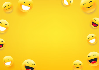 Yellow cute faces. Social media message vector background. Copy space for a text