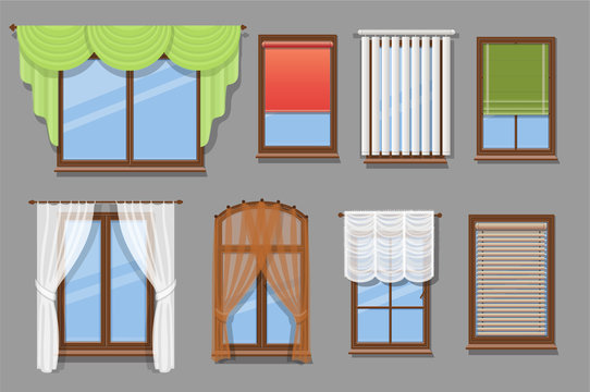 Illustration of various window treatments and types of windows curtains set. Jalousie, drapery, blinds collection