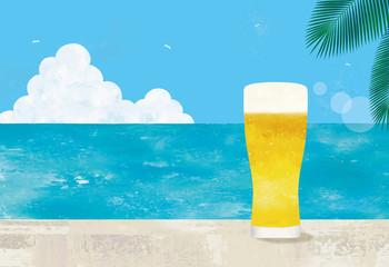 海とグラスビール水彩 Wall mural