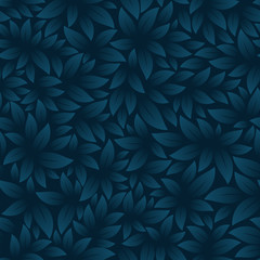 Printed roller blinds Pattern Vector seamless texture with theme leaf. Dark blue background.