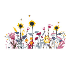 Wall Mural - Wild and honey meadow flowers scene. Vector nature background with hand drawn wild herbs, flowers and leaves on white.