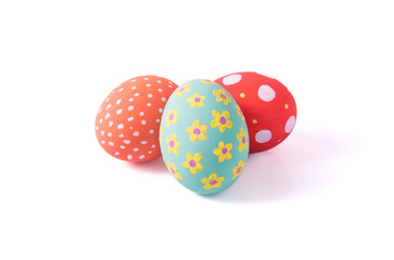 Group Easter eggs varios colored on isolated white background.