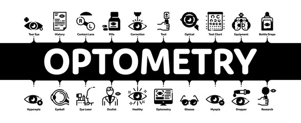 Optometry Medical Aid Minimal Infographic Web Banner Vector. Optometry Doctor Equipment And Pills Bottle, Eye Drops And Glasses, Research And Health Illustrations