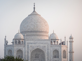 beautiful taj mahal in Agra india with people in front