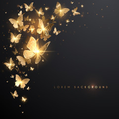 Gold butterflies with light effect on black background
