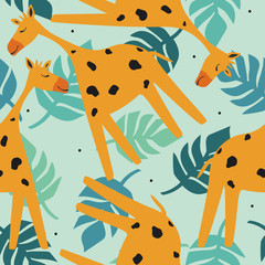 Door stickers Bestsellers Kids Giraffes, palm leaves, hand drawn backdrop. Colorful seamless pattern with animals. Decorative cute wallpaper, good for printing. Overlapping background vector. Design illustration