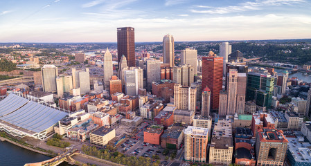 Aerial view of Pittsburgh, Pennsylvania. Business district and river  in background. Beautiful Cityscape.