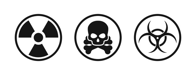 Set with nuclear chemical biological icon. Vector isolated