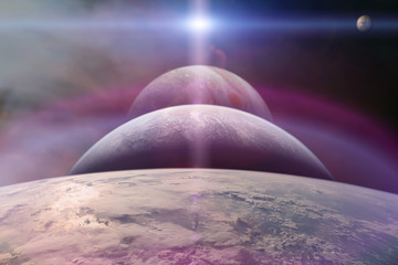 Planet Earth with alien planets in the outer space. Elements of this image furnished by NASA.