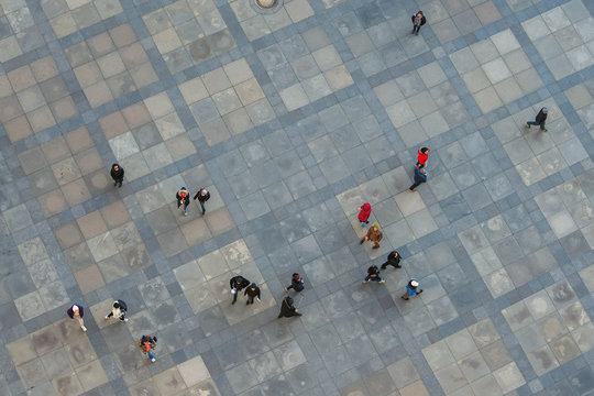 View of the people on the street from above.