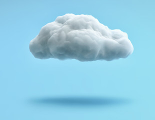 Fototapeta White cloud isolated on blue background. Clipping path included obraz