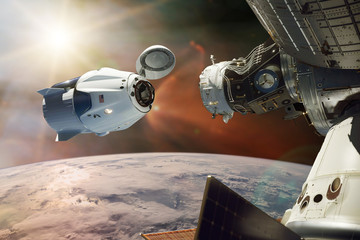 Papiers peints Nasa Cargo spacecraft in low-Earth orbit. Elements of this image furnished by NASA.