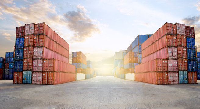 Transportation Logistics of international container cargo shipping and cargo plane in container yard, Freight transportation, International global shipping.