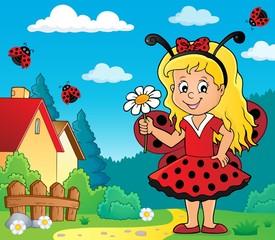 Foto op Plexiglas Voor kinderen Ladybug girl theme image 2