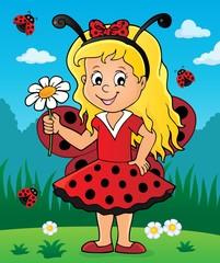 Foto op Plexiglas Voor kinderen Ladybug girl theme image 3