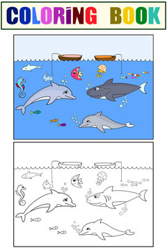 Set children coloring book and color picture. Sea inhabitants, diving. Fish in the ocean.