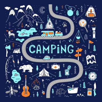 Camping map with lettering. Tourist route for a weekend trip. Hand-drawn vector illustration in doodle style. Hiking trail. Trekking in the forest and outdoor recreation.