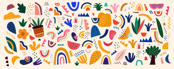 Fototapete - Decorative abstract horizontal banner with colorful doodles. Hand-drawn modern illustration.