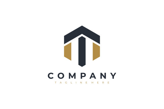 Black Gold Hexagonal Letter T and M Logo. Usable for Business, Real Estate, Architecture, Construction and Building Logo. Flat Vector Logo Design Template Element.