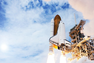 The launch of the rocket with the shuttle. Against the sky. Elements of this image were furnished by NASA.