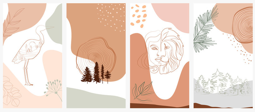 Set of abstract vertical background with forest animals, woman face, plants in one line style and abstract shapes and landscape. Background for social media minimalistic style. Vector illustration