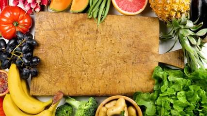 Fotobehang - healthy fruit and vegetable stop motion
