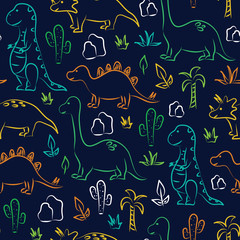 Cute dinosaur print on navy background. Seamless pattern Vector. Tyrannosaurus, brontosaurus, stegosaurus, triceratops, palm tree and cactus.