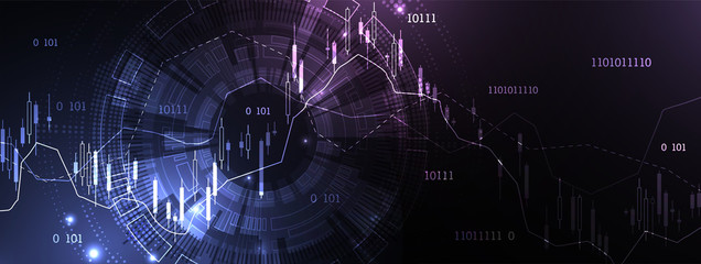 Financial trade concept. Stock market and exchange. Candle stick graph chart. Wall mural