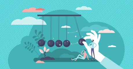 Momentum energy concept, flat tiny person vector illustration